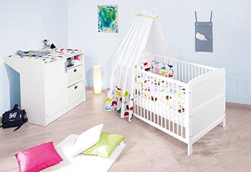 und  breite Wickelkommode mit Wickelansatz wei/ß 140 x 70 cm Kinderbett 2-teilig Pinolino Sparset Viktoria breit Art.-Nr. 09 00 22 B