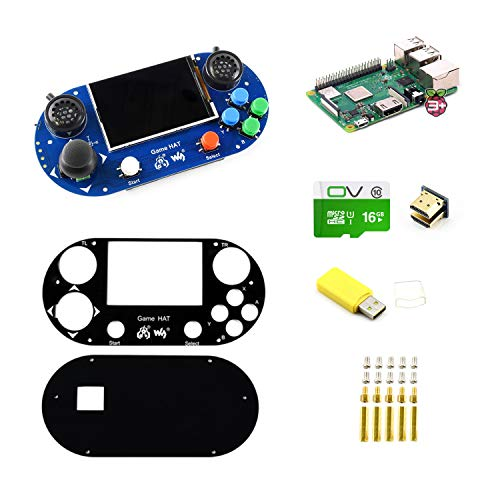 CQRobot Raspberry Pi 3 Model B+ Handheld Game Console Development Kit,  Includes Game Hat for Raspberry Pi A+/B+/2B/3B/3B+, with Micro SD Card, 3 5