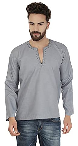 Brodé Coton Mens Court Kurta Shirt Inde Vêtements (Gris, XL)