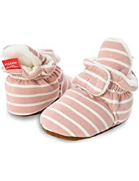 Sabe Infant Boys Girls Warm Fleece Ankle Booties Soft Sole Unisex Strap Slippers First Pram Non-Skid Winter Baby Shoes Christmas First Birthday Gift