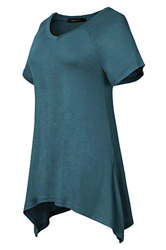 Urban GoCo Damen Kurz Ärmel Basic Lose T-Shirt Stahlblau