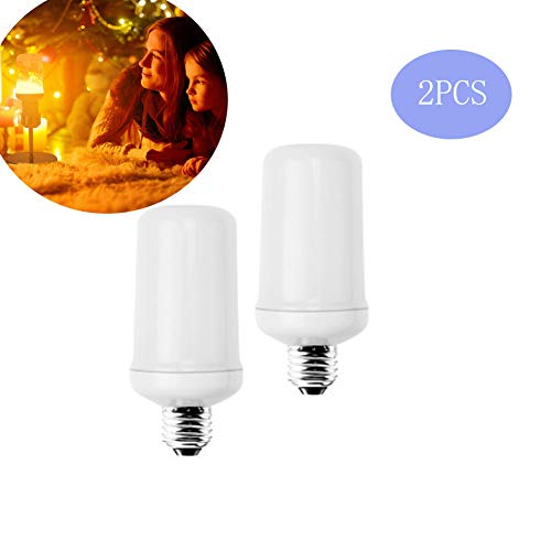 FZYUAN E27 Flame Light Dimmable Innenbeleuchtung 2 Modi Kreative Lichter Upside-Down-Funktion Standard Basis (2PCS),E14