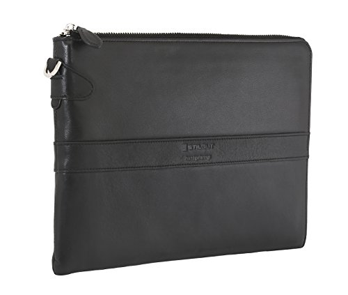 StilGut Business Mappe, Schultertasche und Organizer aus echtem Leder für Tablets (9.7