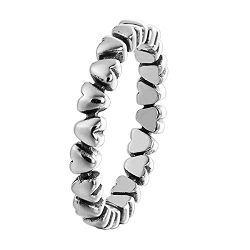Changeable anelli da donna argento sterling 925 misura anello 16 (cuori fila)