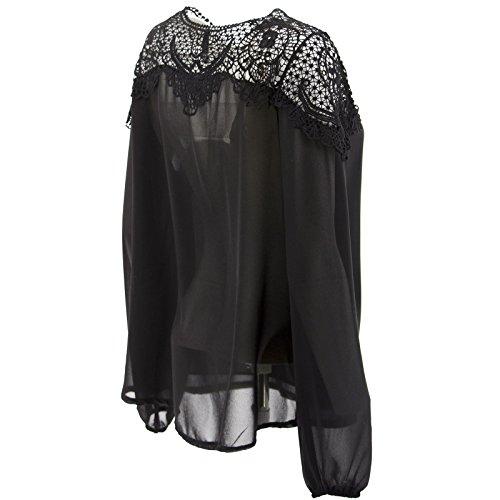 Netgozio Neck une autre couleur T-shirt Fille sexy en dentelle Bateau perforé Noir