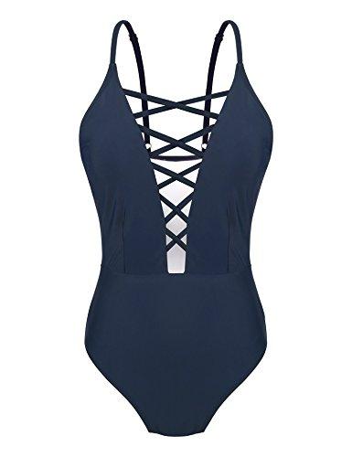 Yolev Badeanzug Monokini Bandage rükenfrei Badebekleidung für Damen (M, Dunkelblau)