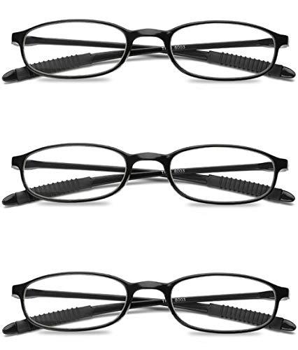 VEVESMUNDO Damen Herren Lesebrillen Leicht Flexibel TR90 Kunststoff Lesehilfe Sehhilfe Brille Schwarz Rot Braun 1.0 1.5 2.0 2.5 3.0 3.5 4.0 (Leichter Kunststoff Schwarz)