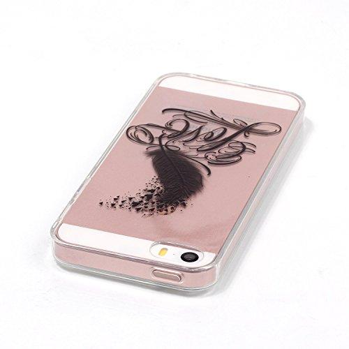 Coque iPhone SE/5S/5 Silicone Gel Etui [avec Gratuit Protections D'écran],CaseHome Élégant Motif Coloré Cristal Clair Ultra Mince Transparente Souple Pare-chocs en Caoutchouc Antichoc TPU Protecteur C Coeur de Plume