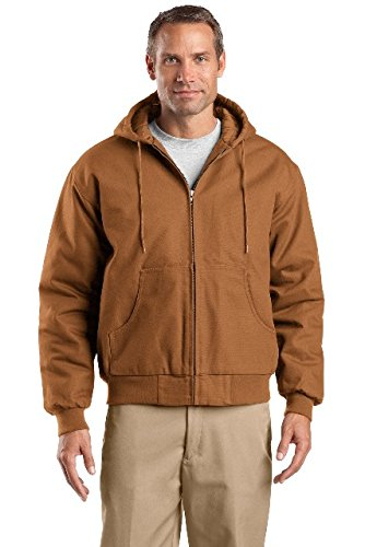 CornerStone® Tall Duck Cloth Hooded Work Jacket. TLJ763H Duck Brown 3XLT (Brown Duck Jacket Hooded)
