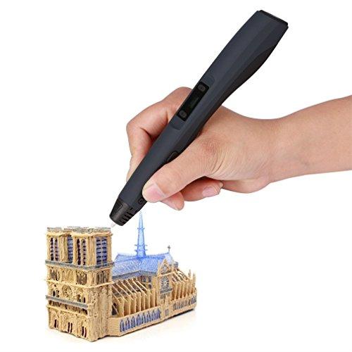 Preisvergleich Produktbild 3D Pen,LESHP 3D Drucker Pen DIY Scribbler 3D Stereoscopic Printing Pen 3D Pen Kugelschreiber mit LCD Bildschirm + 3 ABS Filament (Schwarz)