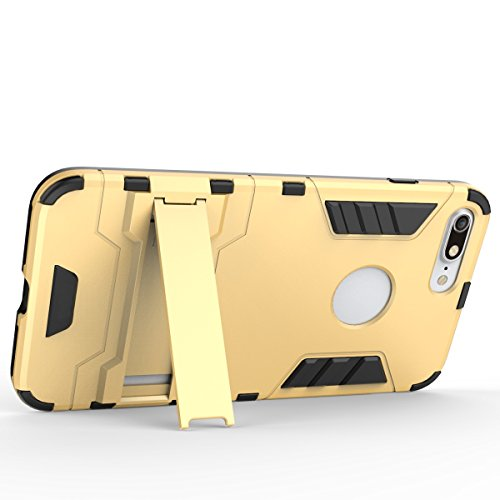 Wkae Case Cover 2 en 1 New Armour style dur hybride double couche Armure Defender PC Disques Etui avec support antichoc Case ​​pour iPhone 7 Plus ( Color : Rose Gold , Size : IPhone 7 Plus ) Blue Black