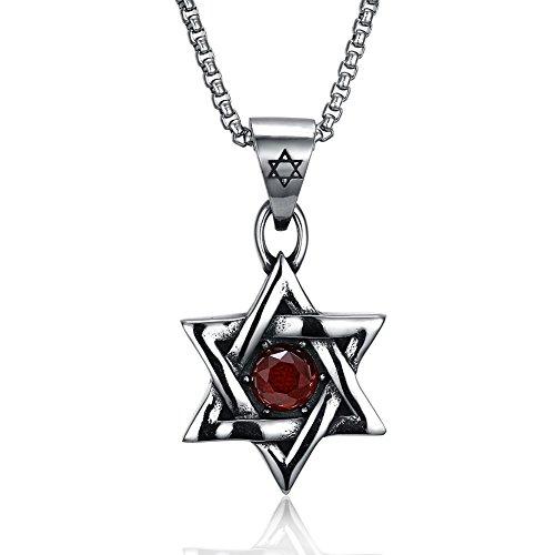 JAJAFOOK Herren Vintage Titan Stahl rot Diamant Jüdischer Stern von David Anhänger, 61cm Kette Halskette -