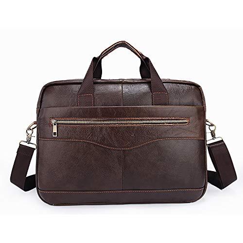Herren 14 Zoll echtes weiches Leder Aktentasche - Business Office Laptop Handtasche - Kompatibel mit Notebook, Ultrabook, MacBook für Arbeit und Reisen, Coffee