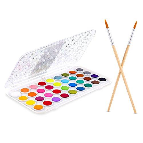 Set acquarelli ohuhu, set di acquarelli fondamentali per pittura con 36 colori assortiti e 2 pennelli, tavolozza integrata per bambini, artisti e artigiani