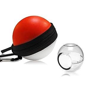 Voroar Pokeball Plus Hülle Set, Kugelförmig Schutz Tasche mit Schlüsselanhänger und Transparenter Schutzhülle für Nitendo Switch Pokémon Controller Pokéball Plus, Rot