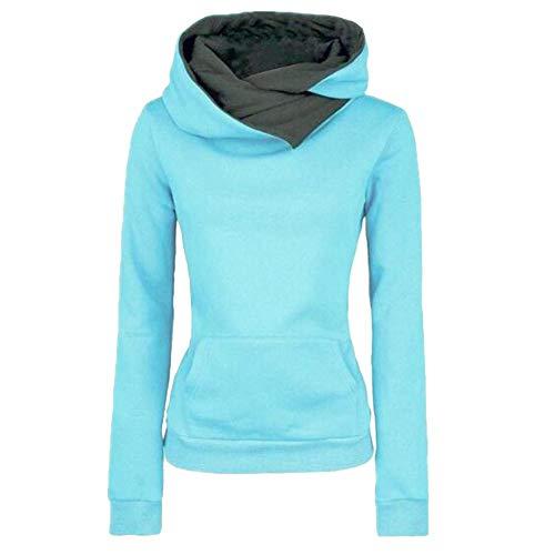 GLOGLOW Warmer Hoodie, Frauen Warm Hoodie Sweatshirt Langarm Pullover Mantel(Aqua L) -