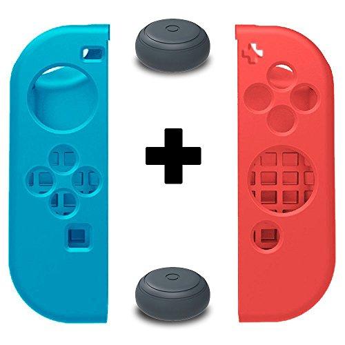 Preisvergleich Produktbild 2 Analogstick Aufsätze & 1 Paar TopACE Weiche Silikon Case Hülle Gamepad Skin Schutzhülle für die Linke & Rechte Nintendo Switch Joy-Con Controller (Blau + Rot)