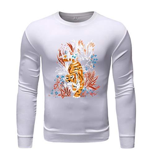 TEBAISE Sweatshirt Herren Rundhalsausschnitt Sweatshirts 2019 Neu Pullover Rundhalskragen Langarmshirts Sportlicher Stil Stickerei Blumen Drucken Pullover Pulli aus Hochwertiger Baumwollmischung