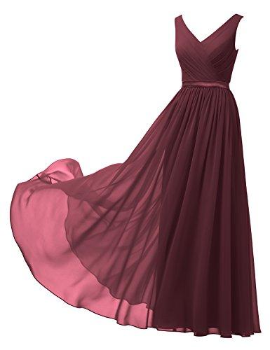 Alicepub A-Linie Chiffon Brautjungfernkleider Abendkleider Lang Ärmellos Ballkleider, Burgund, 58