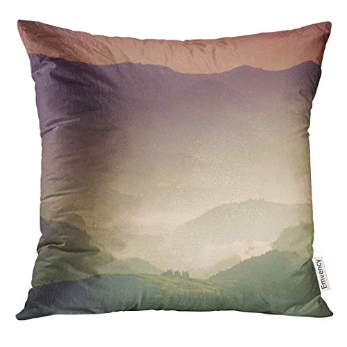 Throw Pillow Cover View of The Top on Fantastic Sunlight Beautiful Scenery Mountain Range at Sunrise Abstract Nature Decorative Pillow Case Home Decor Square 18x18 Inches Pillowcase - Pillow-top-blatt