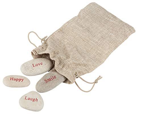 Steine-4Gravur Fluss Steine, Positive Worte Motivational Steine, Inklusive Jute Bag Happy, Love, Laugh, Smile ()