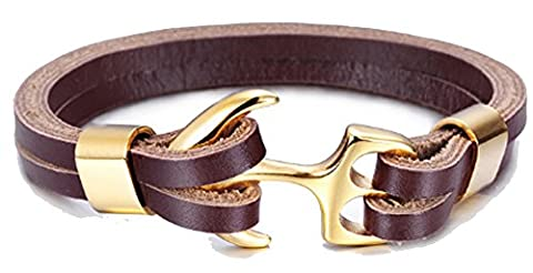 SaySure - Gold Plated Stainless Steel Men's Jewelry Black Brown