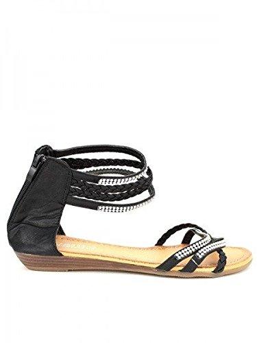 Cendriyon, Sandale Noires LIBRAPOP Strass Chaussures Femme Noir