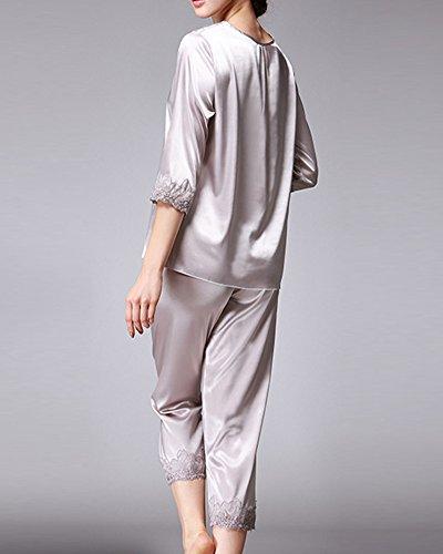 Damen V-Ausschnitt Schlafanzug Atmungsaktiv Pyjama Set Satin Super Bequem Zum Schlaf Grau