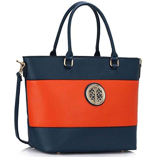 LeahWard® Übermaß Damen Essener Tragetaschen Damen Groß Schulter Handtaschen Einkaufstasche 406 Blau/Orange