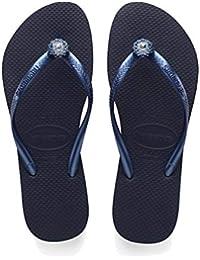 fba62a7fd7a6f Havaianas Navy Blue Navy Blue Metallic Slim Crystal Poem Size 8 flip Flops