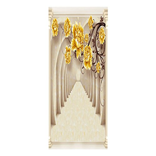 WINOMO 3D Arch Tür Aufkleber Selbstklebende Abnehmbare Tür Wandbild Tapete für Heimtextilien (Arch Tür)