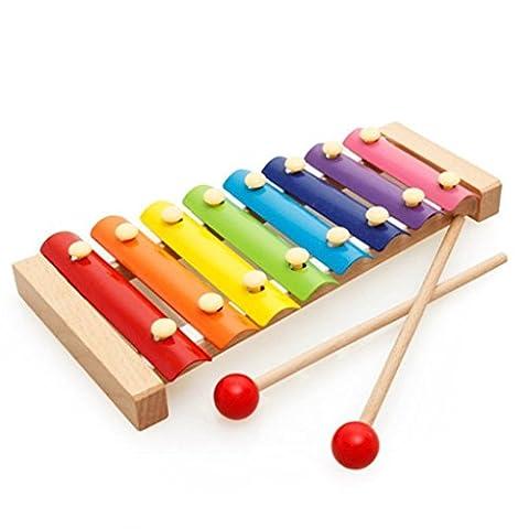 Efbock Enfants Garçons Filles Puzzle Musical Toys Bébé Frappez Piano Octave Jouets en bois 1-3 Ans