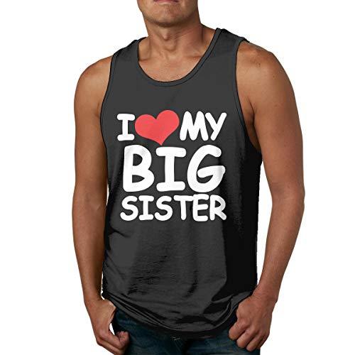 Abigails Home Ich Liebe Meine große Schwester Mens Tank Top ärmellose Shirts Tee Basketball Sport T Shirt Tees Outdoor Fitness(XXL,schwarz) (Tank Square Top Cut Cotton)