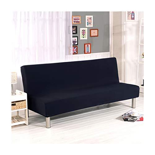 Futon Sofa Couch Bett (FamyFirst Sofa Bett All Inclusive Stretch Schonbezug Futon Couch Cover umklappbaren Elastic Armless Bettüberwurf Haut Freundlicher Möbelschutz, Schwarz, S)