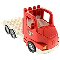 Preisvergleich für Bausteine gebraucht 1 x Lego Duplo LKW rot weiß Feuerwehr Truck Chassis LKW Laster Auto Lastwagen fire für Set 5682 87700c02pb01