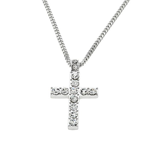 Lialbert Kreuz Kette FüR Frauen Und Herren,Damen SchöNe Halskette Diamant Mode Strass Schmuck Silber Und Gold (Silber)