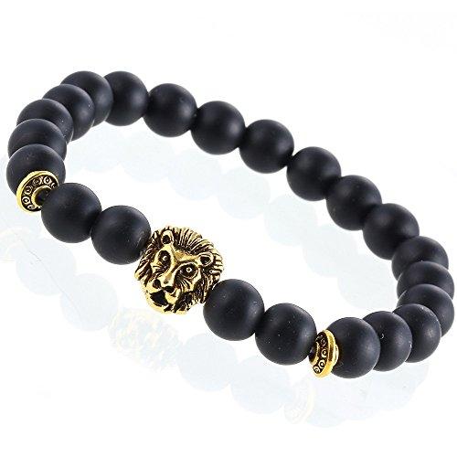 Gold Anhänger Löwen (Lion&Son Loewen-Armband Gold Silber Lion Tiger Matt-Perlen Onyx Damen-Gummi-Band Herren-Schmuck Obsidian, Farbe:Gold)