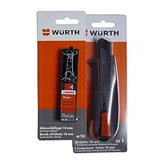 Würth Cuttermesser Teppichmesser inkl. 3 Abbrechklingen und 10 zusätzlichen Abbrechklingen