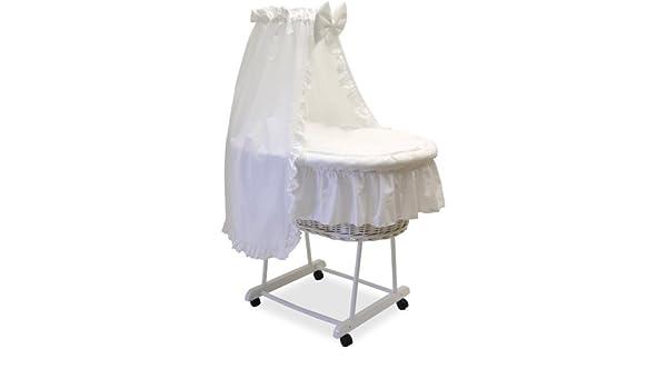 Grapi stubenwagen white wash mit matratze und textilausstattung