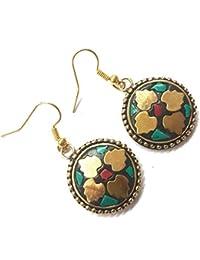 Jaipri, Tibetan Handmade Earrings For Women, Weight - 10 Grams, Length - 1.5 Inches
