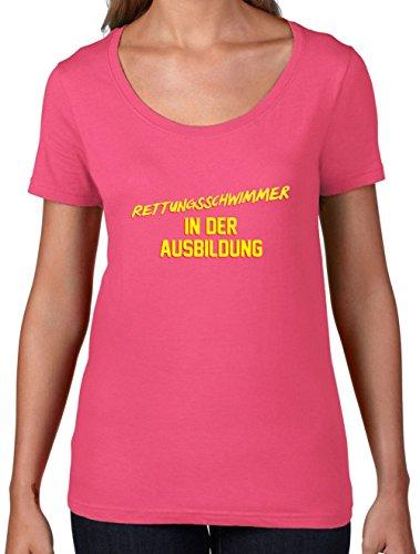 Rettungsschwimmer in der Ausbildung - Damen T-Shirt mit Rundhalsausschnitt- Azalee - M (Rettungsschwimmer-ausbildung)