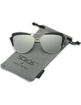 SOJOS Gafas De Sol Mujer Ojo De Gato Marco Metal Espejo SJ1061
