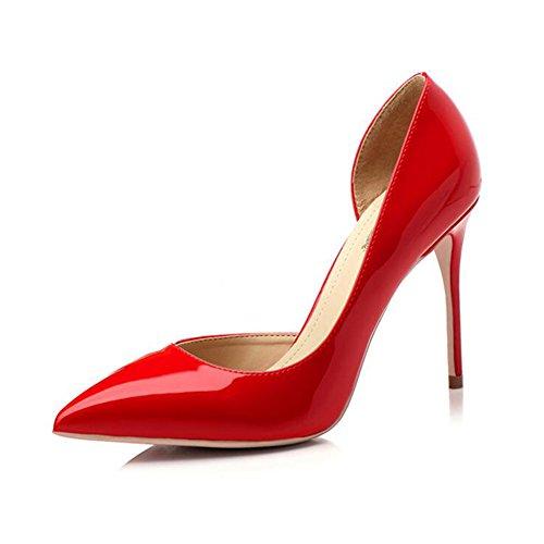 YIXINY Escarpin M388-2 Chaussures Femme PU+Caoutchouc Side Vide Pointu La Bouche Peu Profonde Talon Mince 8.5/10cm Talons Hauts Rouge