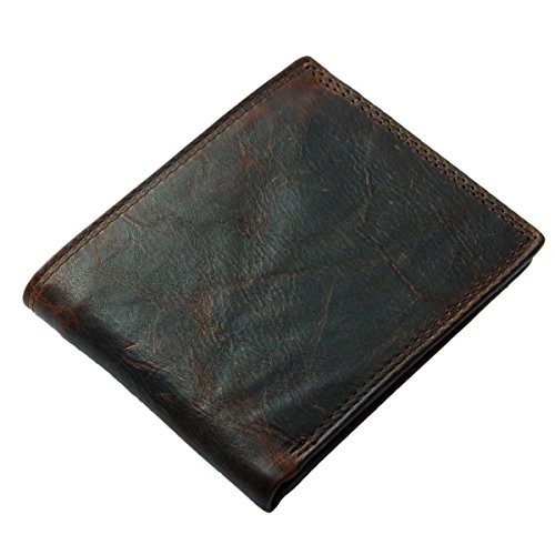 Sunrolan Herren Ledergeldbörse aus echtem Leder in Querformat Portemonnaie GeldbeutelVintage 12*9.5*1cm Braun521