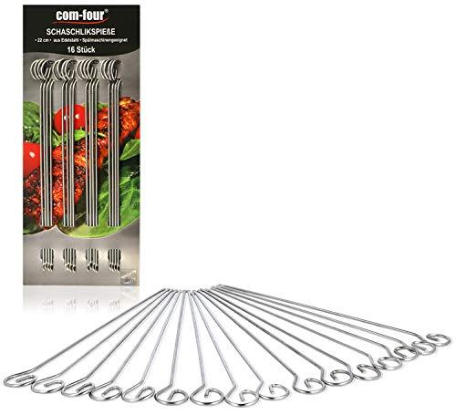 COM-FOUR® 16x Schaschlikspieße aus Edelstahl - 22 cm Lange Fleischspieße - Premium Gemüsespieße im Set