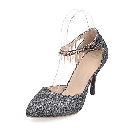 VogueZone009 Damen Stiletto Blend-Materialien Rein Schnalle Spitz Zehe Pumps Schuhe Grau