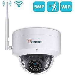 5MP Caméra de Surveillance WiFi Détection de Corps Humain de Mouvement Ctronics Caméra IP Dôme sans Fil Large Angle 110° HD Vision Nocturne IP65 Imperméable Fente de Carte SD