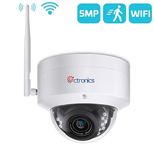 Ctronics 5MP Menschenerkennung WLAN Überwachungskamera, Dome Kamera Aussen bis 30m IR-Nachtsicht, IP 65 wasserdicht Kamera Outdoor, Unterstützt SD-Karte