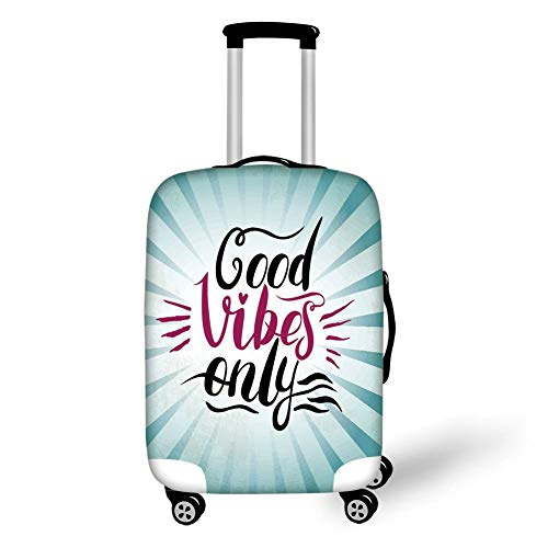 Travel Luggage Cover Suitcase Protector,Good Vibes,Retro Radial Composition Abstract Sunburst Hand Lettering Typography Decorative,Teal Black Magenta,for Travel,S -