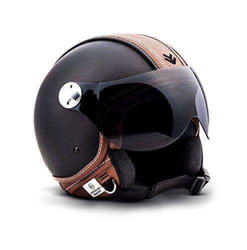 "ARMOR · AV-84 ""Vintage Deluxe"" · Jet-Helm · Chopper Bobber Roller Scooter-Helm Motorrad-Helm Mofa · ECE certified · Visier · Click-n-Secure™ Clip · Tragetasche · M (57-58cm)"